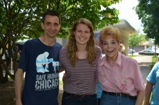 KC Stralka '16 (center) is pictured here with Alderman Nick Sposato and Comptroller Judy Baar Topinka at the Alderman's do...