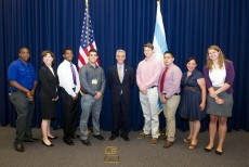 KC Stralka '16 (right) is pictured here with fellow interns along with Chicago Mayor Rahm Emanuel and Alderman Margaret La...