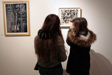 Viewers get an up close look at Burroughs' art.