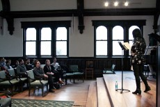 Anne Waldman reads a poetry selection in the Lily Reid Holt Memorial Chapel as part of the Burroughs@100 events.