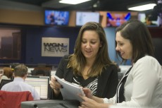 Jennifer Aguirre '15 worked closely with the evening producers during her internship at WGN-TV in Chicago.