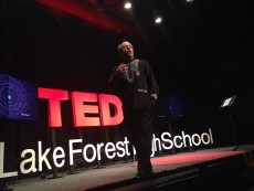 Ahmad Sadri spoke on the need for a liberal arts education in a Lake Forest High School TED-style talk on April 16.