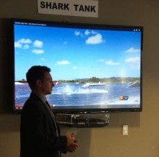 Alec DeAngelo '16 pitches his cable-park wakeboard idea to five business professionals.