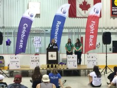 Inspirational talks were part of the all-night Relay for Life event.