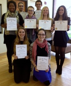 Eight students were inducted into the religion and theater honor societies in May 2015.