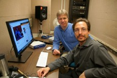 Professors Don Meyer (left) and Davis Schneiderman created an audio-visual experience linked to a Chicago play.