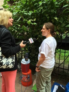 Professor Rebecca Graff is interviewed by Lisa Fielding of WBBM during the Media Day.