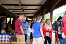 First-year students, new transfer student, Forester guides and professors met up at the Lake Forest train station.