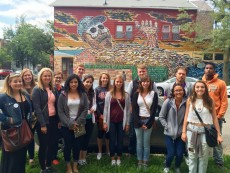 Professor Randy Iden's class visited the Hector Duarte house during their tour of the city's Pilsen neighborhood.