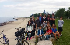 Professor Josh Corey's class biked around the city during their Chicago Day trip.