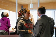 "Tiffany Davis '18 met one-on-one with Robert Neus during the first ""Coffee with a Diplomat"" on February 8."
