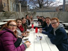 Students enjoyed pie in Logan Square.