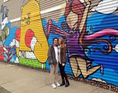Kyle Sarabia '18 and Kalina Sawyer '18 at an iconic Logan Square mural.