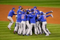 CLEVELAND, OH - NOVEMBER 02: The Chicago Cubs celebrate after defeating the Cleveland Indians 8-7 in Game Seven of the 201...