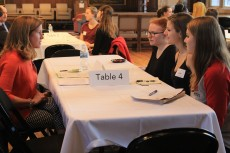 Amy Wells of the Chicago Botanic Garden met with students during the Environmental Careers Networking Event.