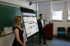 Samantha Russel '20 and Zachary Feldman '20 present the research they completed with Associate Professor of Psychology Nao...