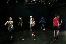 The class works together practicing movement as improv during a Lake Forest College summer course.