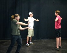 The students play off each other during the Lake Forest College Improvisation Techniques class this summer.