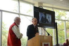 President Emeritus Gene Hotchkiss (left) and Krebs Provost and Dean of the Faculty Michael Orr welcomed guests.