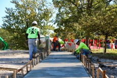 Workers lay new sidewalk around Lillard Science Center during fall break 2017.