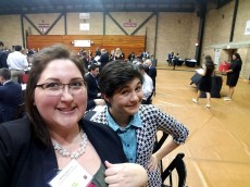 Ashley Spicer '15 of Lakeshore Wealth Strategies takes a selfie with Jaime Harris '18 before their five-minute chat during...