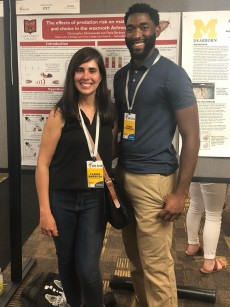 Assistant Professor of Biology Flavia Barbosa and Chris Edomwande '19, who brought home top honors in the poster...