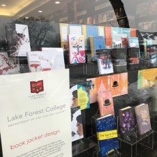 Students' book jacket designs were showcased in the front window of Lake Forest Book Store, located in downtown...