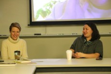 Associate Professor Chloe Johnston and Mariana Green '14 lead the discussion.
