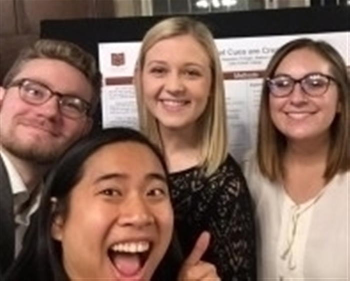 Sam Curry '19 (from left), Nicole Hueng '18, Magdalen Kroeger '18, and Madison Copeland '18 were co-authors on their first...