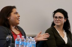 Clarissa Jimenez '18 (left) and Sam Corrigall '14 returned to campus to give SOAN students insight into caree...