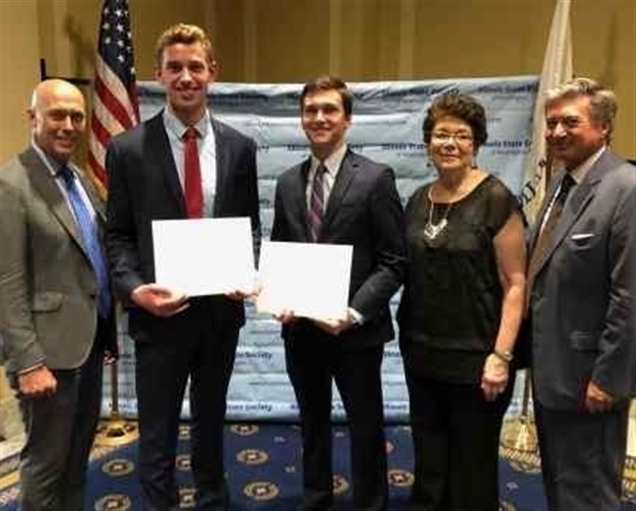 Nicholas Wheeler '21 (second from left) is honored as a recipient of the Congressional Intern Scholarship.