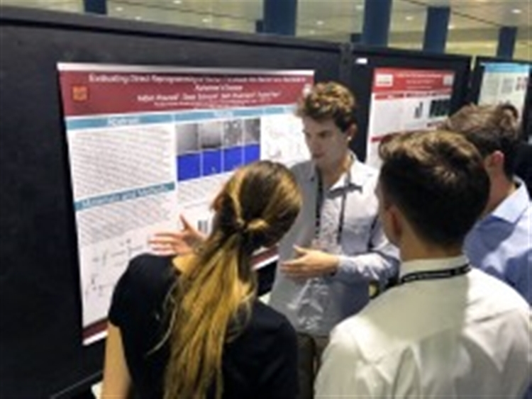 Aiden Houcek '20 presents his results at the 49th annual National Society for Neuroscience conference.