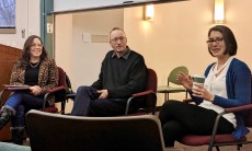Karen Mothkovich '06 (right) and John Tweedie '94 (center) visited campus to share their career insight with ...