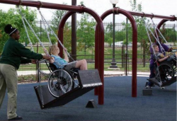 An example of a wheelchair-accessible swing set