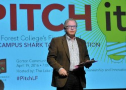 Dean DeBiase discusses the rules of competition at Lake Forest College's 2016 Pitch it! event at Gorton Community Center in Lake Forest.