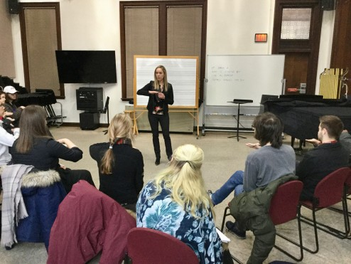 Artist-in-residence Natalie Douglass works with music education and band students on the Kodaly method of musical training.