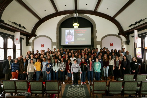 The 2018 Chicago Brain Bee drew nearly 70 high school participants and involved dozens of Lake Forest College students who helped organize and run the daylong event.
