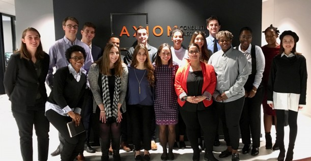 Studens worked on case studies at Axiom Consulting in downtown Chicago.