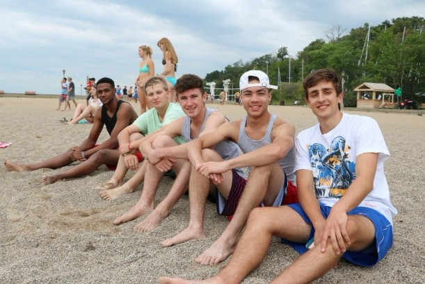 Students at the beach.