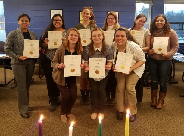The newly inducted members of Kappa Delta Pi Back row, left to right: Aurora Santos-Santiago '20, Araceli Reyes '20, Deborah Jezuit '20, Karen Guido '20, Nina Codell '20, and Yessenia Alvarado Vasquez '20. Front row, left to right: Katherine Nolte '19, Keara Schweiger '19, and Paloma Albarran '19.