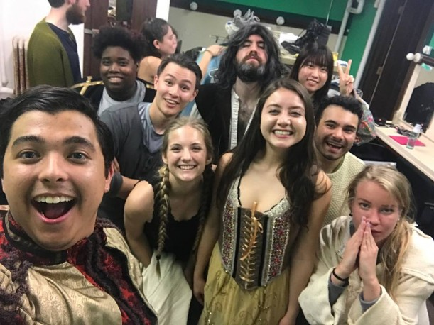 The cast of Pericles backstage.